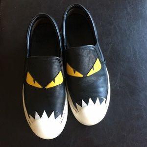 Fendi monster black leather sneaker.